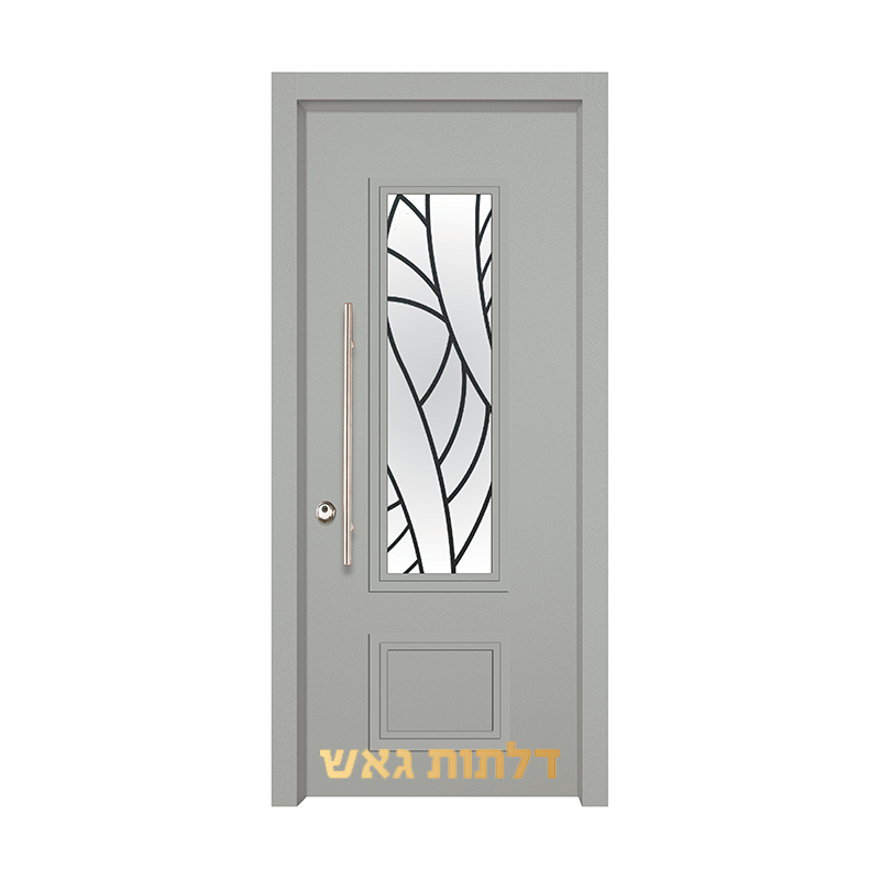 דלת כניסה מעוצבת 7020-53 0096-אפור בהיר