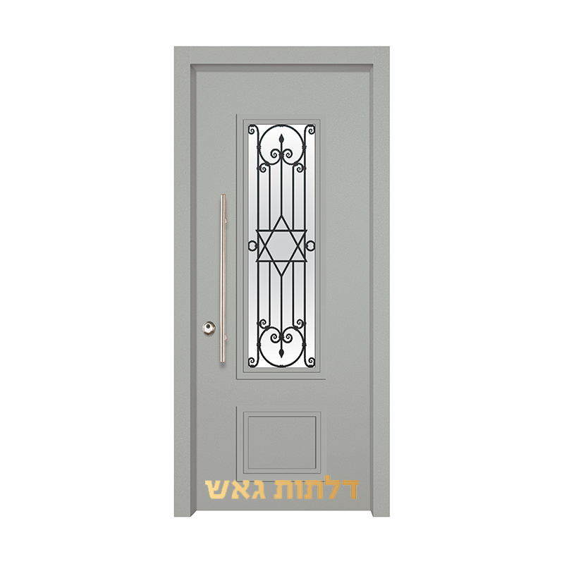דלת כניסה מעוצבת 7020-54 0096-אפור בהיר